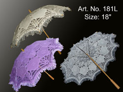 Blue, green, red, yellow,pink, lavender,  white, ecru, black batten lace parasol
