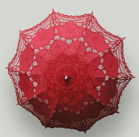 RED HAND MADE LACE WITH EMBROIDERY PARASOL