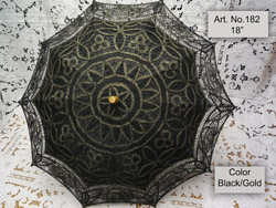 black gold lace parasol