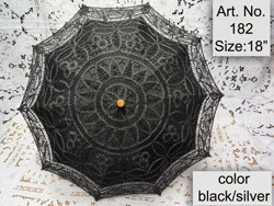 black/silver batten lace parasol
