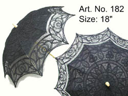 BLACK  COLOR BATTENBURG LACE UMBRELLA