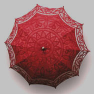 red batten lace parasol