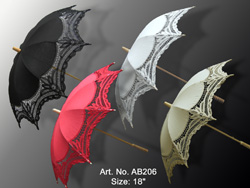 battenburg lace parasol with black, red, ecru color